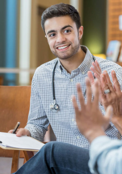 a medical student studies in a group